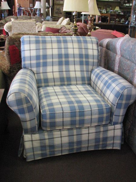Upholstered Blue And White Plaid Arm Chair 245 Putting