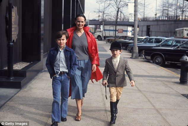 Kids: Vanderbilt and Cooper had two sons, Anderson and Carter (Vanderbilt with her sons above in March 1976)