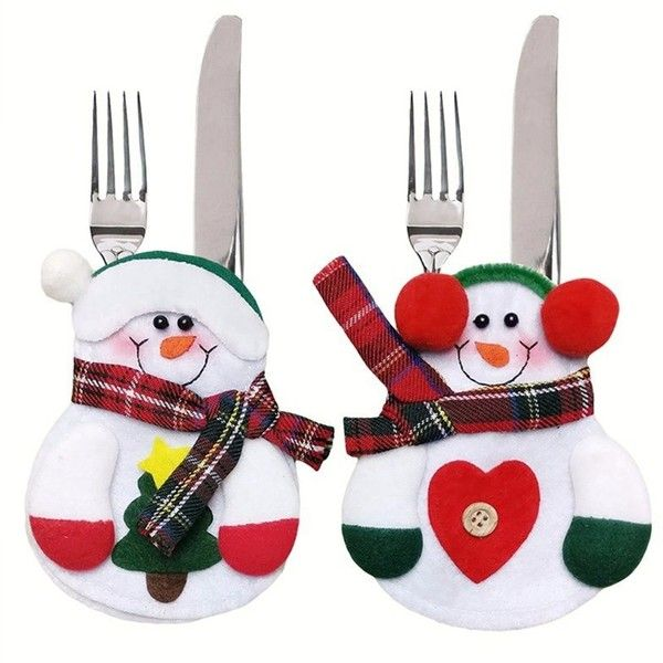 Snow White 6PCS Xmas Decor Lovely Snowman Kitchen Tableware Holder... (16 AUD) ❤ liked on Polyvore featuring home, kitchen & dining and dinner cutlery set