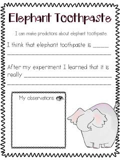 Elephant Toothpaste Recording Sheet Science Experiment