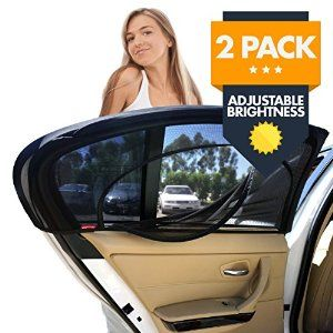Amazon.com: EZ-Slip Adjustable Brightness Car Side Window Sunshade - Universal Fit Rear Car Window Sun Shade Screen - Child, Baby, Kids & Pets In Car or SUV Back Seat - Blocks 98% UV Rays - Set Of 2: Automotive