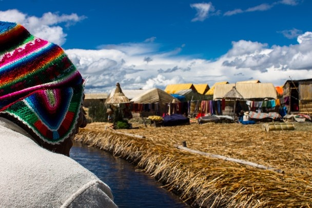 An inhabitant of the floating islands of Uro in Peru at the lake Titicaca