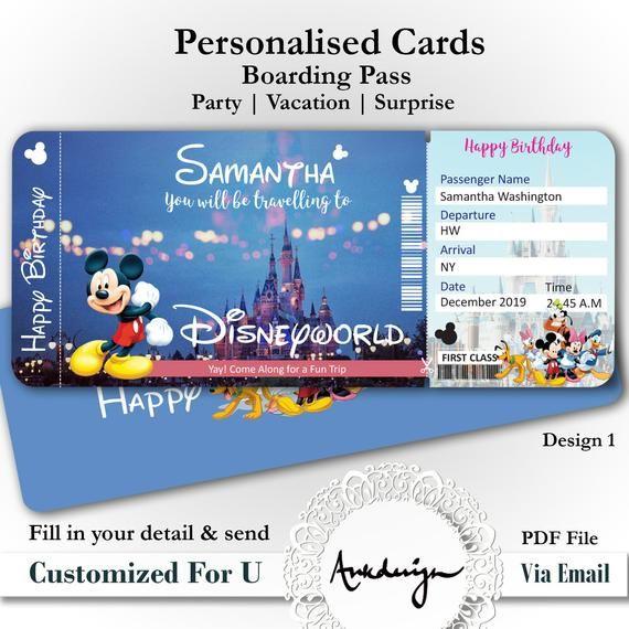 Personalized Disney Ticket Disneyworld Ticket Disneyland Etsy In 2021 Disney Tickets Disneyland Tickets Disney World Tickets