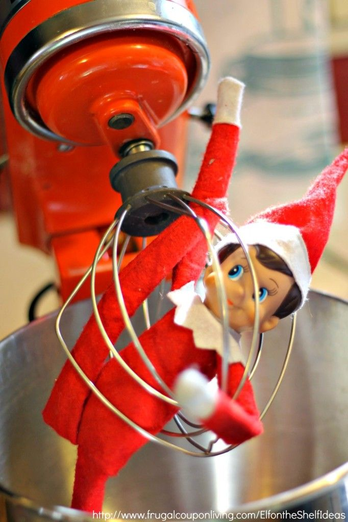 Elf on the Shelf Ideas – Elf is Mixed Up in the Mixer. It would be fun to add some flour to elf in this idea. This and daily ideas on Frugal Coupon Living plus FREE Elf on the Shelf Printables.