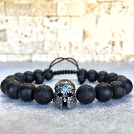 925 Sterling Silver Spartan Bracelet, Mens Onyx Bracelet, Spartan Bracelet, Bracelet For Men, Knight, Helmet Bracelet, Gladiator Bracelet