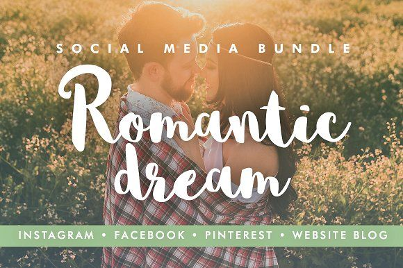 48 Social Media Templates - Romantic by DESIGN HQ on @creativemarket  The Romantic Dream social media bundle features 48 social media templates, 20 images, and fonts that are ideal for fashion brands, bloggers, lifestyle brands, magazines, and other creative businesses.