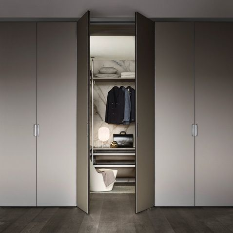 Cover freestanding with brushed lead structure, grigio ombra matt lacquered glass doors.