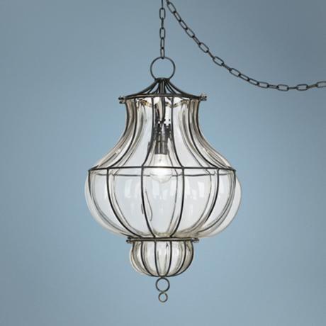Centinela Lantern 12 Wide Glass Plug In Swag Chandelier