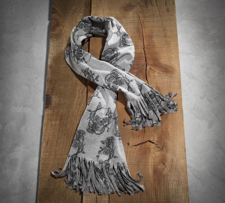 Expand your outfit possibilities. | Harley-Davidson #HDBlackLabel Women's Flower Skull Jersey Scarf
