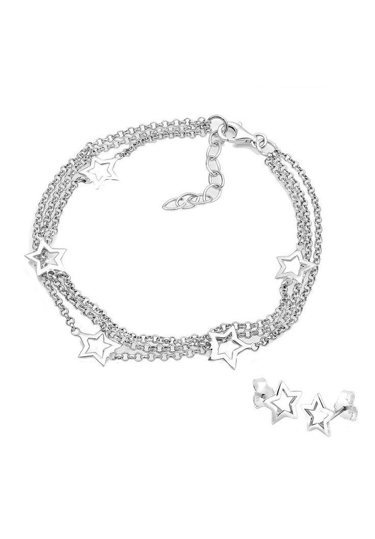 Stylisches 3-Lagiges Gliederarmband aus feinem 925er Sterlingsilber mit 5 Sternelementen (10mm). Das Armband kann um bis zu 3cm verlängert werden und passt daher bei einem Umfang von 18-21cm. Dazu passende Sternen-Ohrstecker (9mm) aus feinem 925er Sterlingsilber.  Produktdetails: Verschluss: Karabinerhaken, Gewicht: 5,5g, Durchmesser: 10mm, Optik: glänzend, Art der Kette: Rollo,  ...