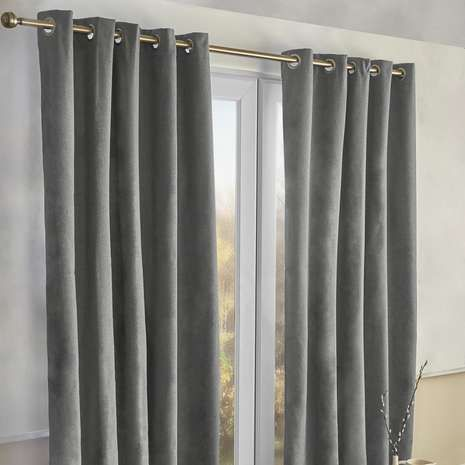 Alaska Charcoal Thermal Eyelet Curtains | Dunelm