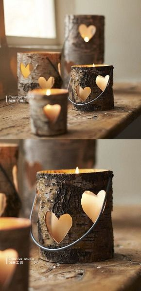 heart-shaped hollow wood candle holders. For the rustic wedding :)