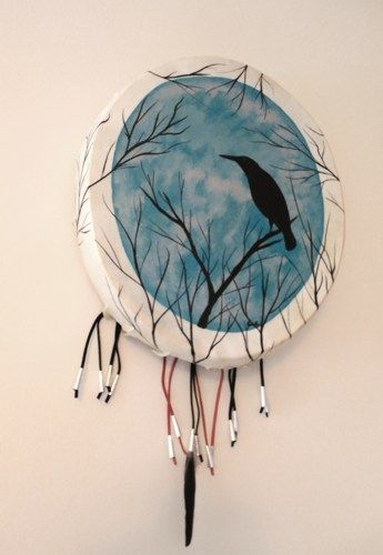 Crow Totem in Tree Primitive Gourd Frame Drum Painted with Mallet | ConsciousArtStudios - Music/Instruments on ArtFire