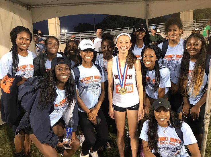 McKinney North celebrates at the Texas State Champs with freshman London Culbreath breaking the 3200m State Meet 3200m record in 10:13.68 . . . . . #milesplit #track #tracknation #running #texas #texastrack #texasmilesplit #3200m #londonculbreath #uilstate #uiltfstate