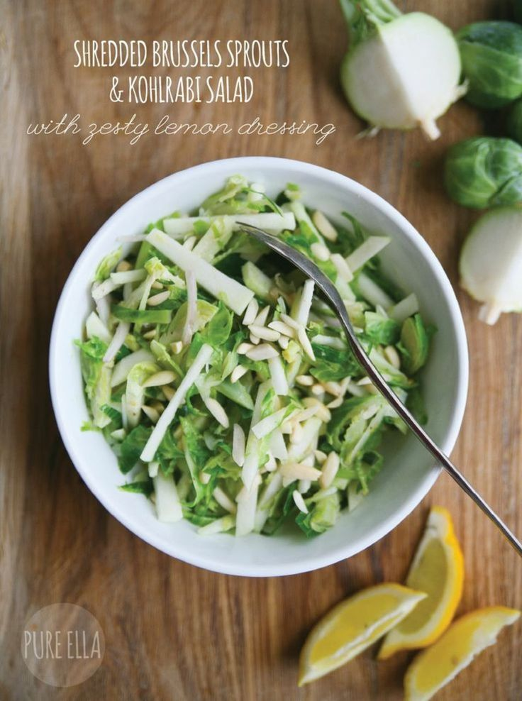 Pure Ella | Shredded Brussels Sprouts & Kohlrabi Salad with Zesty ...