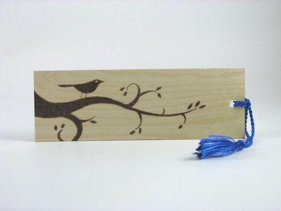 Bird Bookmark Wood Pyrography Wood Bookmark by bkinspired