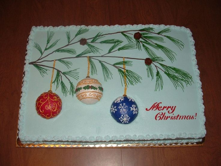 Christmas Sheet Cake Decorating Ideas : 289 best Cakes - sheet cakes images on Pinterest Sheet ...