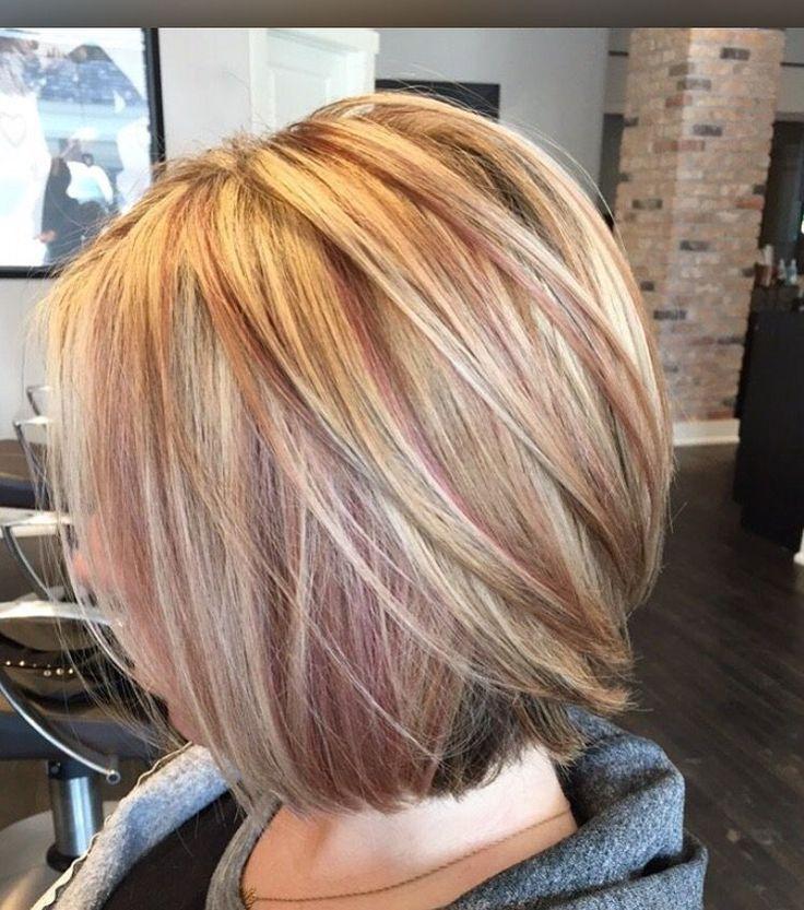blonde & rose gold highlights