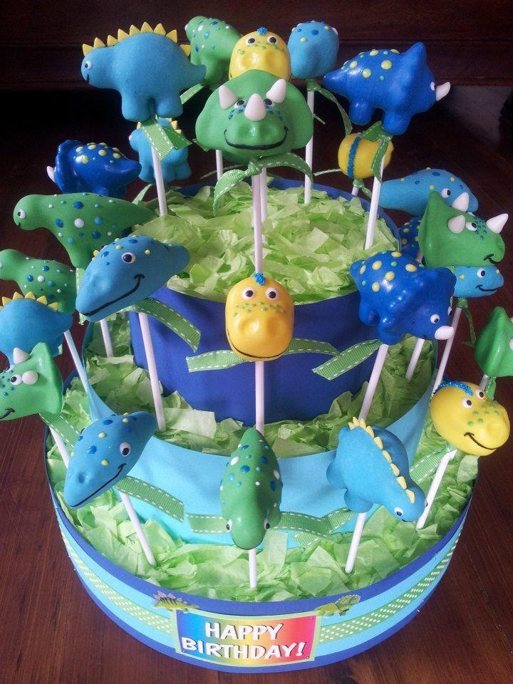 Triceratops body cake pops