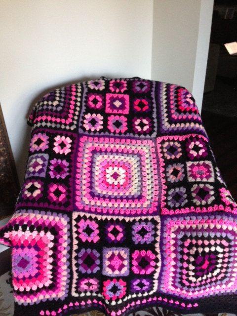 Vintage Crochet Afghan Granny Square Blanket/ Pink/ Purple/ Black