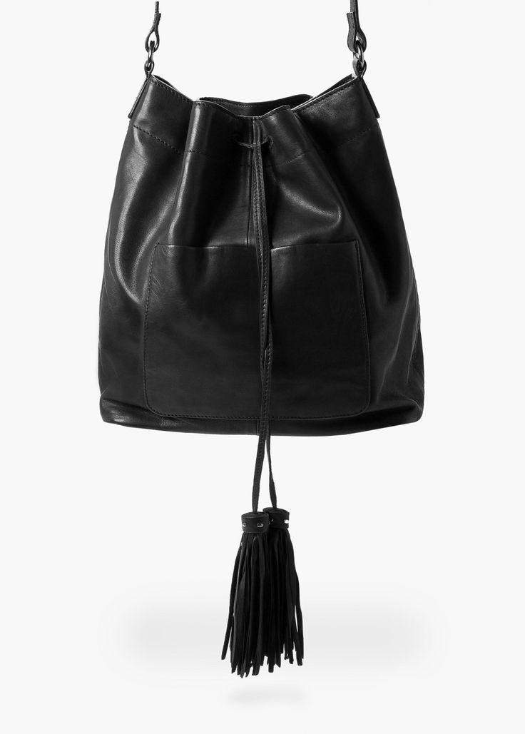 Bolso saco serraje -  Mujer | MANGO