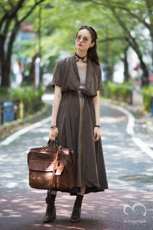Model Mannamiyu wears Oliver Peoples Sunglasses and vintage at Shibuya Tokyo…