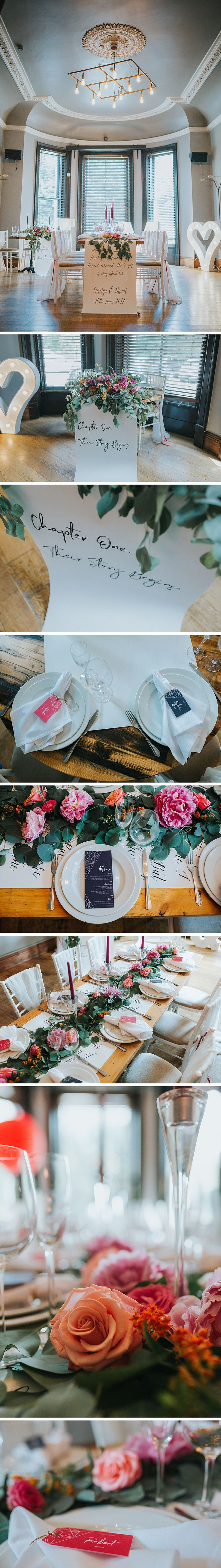 details of a wedding set up in a victorian room at the faversham wedding venue in leeds