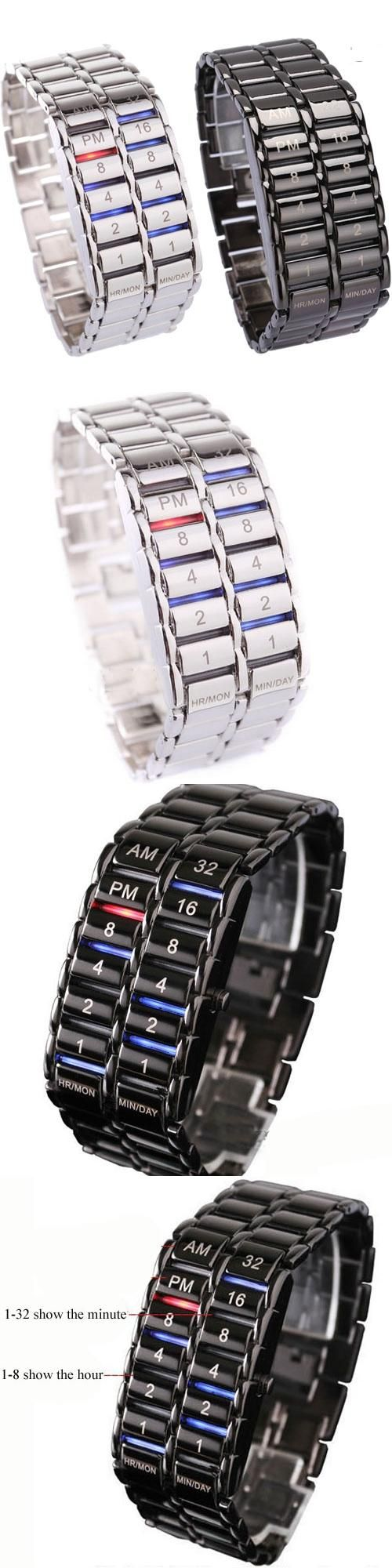 New Fashion Cool Volcanic Lava Style Iron Faceless Binary LED Wrist Watches for Man Black / Silver