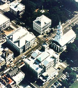 "Charleston's Four Corners of the Law.  ""A 1680 plan for the new settlement, the Grand Modell, laid out ""the model of an exact regular town,"" and the future for the growing community. Land surrounding the intersection of Meeting and Broad Streets was set aside for a Civic Square. Over time it became known as the Four Corners of the Law, referring to the various arms of governmental and religious law presiding over the square and the growing city.""Growing Cities, Charleston, Growing Community, Land Surroundings, Civic Squares, Carolina, Grand Models, South, Broad Street"