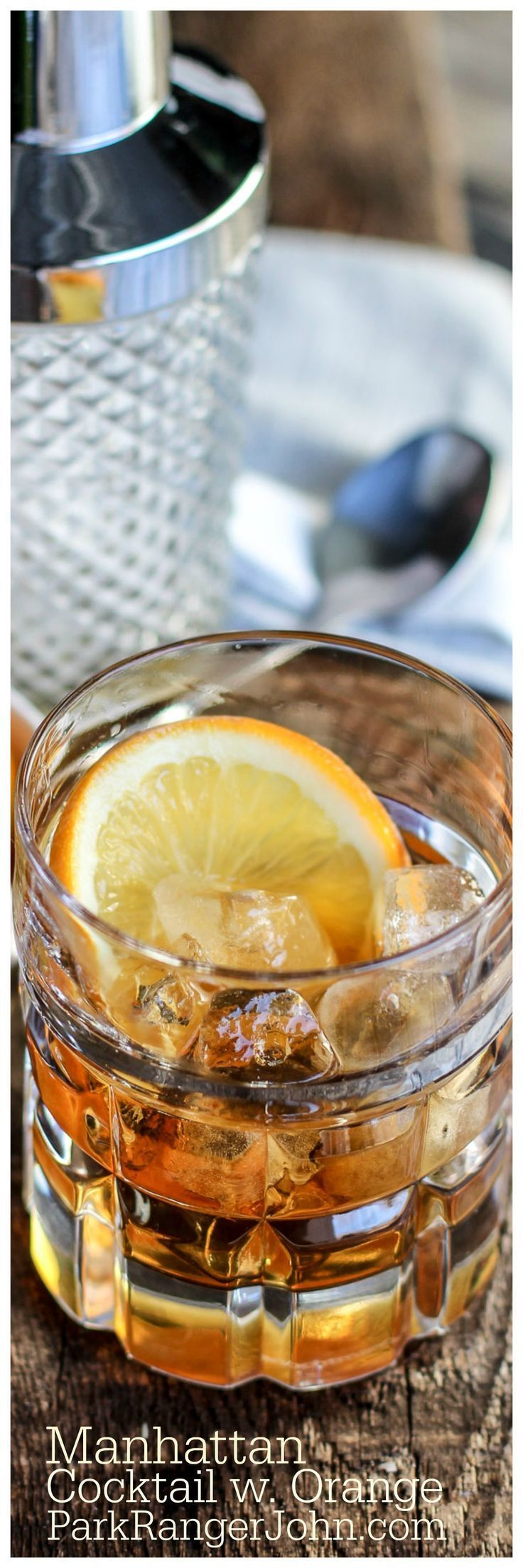 Classic Manhattan Cocktail Recipe with an Orange Twist that is perfect for happy hour, dinner parties, bachelor parties or guys night.  via @ParkRangerJohn