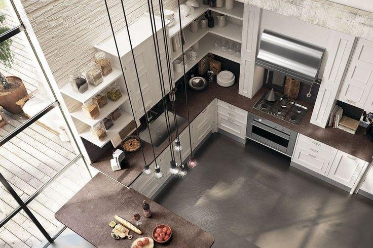 cuisine moderne avec un plan de travail couleur rougêatre