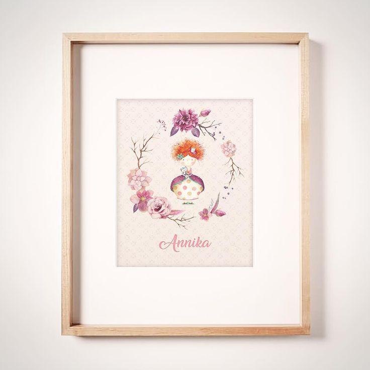 Cute girls print. Bedroom or nursery, girl holding kitty. With custom name