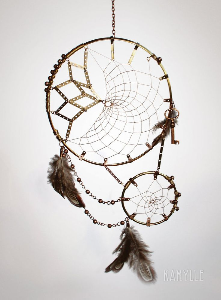 Steampunk Dreamcatcher  The first I made :)  Capteur de rêve Steampunk  Fait main, par moi !