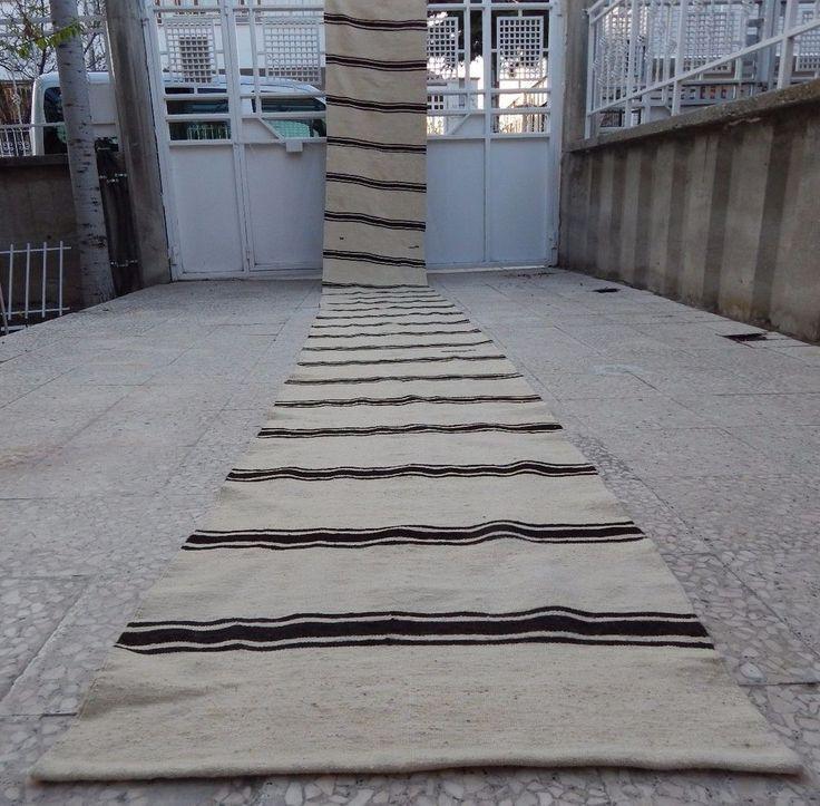 21 foot Narrow Handmade Undyed Plain and Simple Organic Turkish Kilim Rug Runner #Contemporary