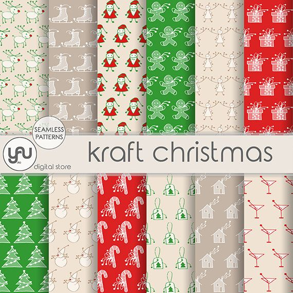 """Christmas digital paper: """"KRAFT CHRISTMAS""""  with white red and green xmas patterns on brown kraft paper, christmas scrapbook paper for cards #Craft #Tools #Scrapbooking #Supplies #Paper  #christmas #digital   #paper  #scrapbook #seamless #patterns #holiday #background #Kraft #vintage #retro #hand #sketch #drawing #craft #Craftsupplies  #scrapbookingsupplies #scrapbookingpaper #christmasdigital #christmaspaper #digitalpaper #christmasscrapbook #seamlesspatterns"""