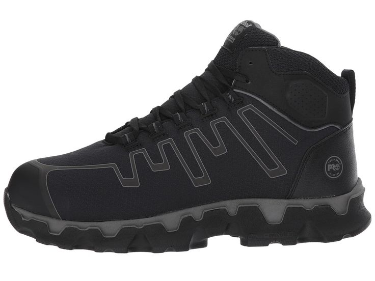 Timberland PRO Powertrain Sport Mid Alloy Safety Toe EH Men's Industrial Shoes Black Ripstop Nylon