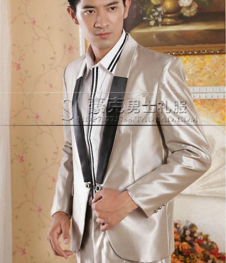 Khaki 2017 new arrival brand-clothing slim men suit slim fit set with pants mens suits wedding groom dress man suit + pant + tie //Price: $94.64 & FREE Shipping //     #hashtag2