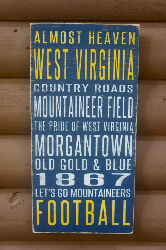 West Virginia University Distressed Decorative Sign on Etsy, $65.00