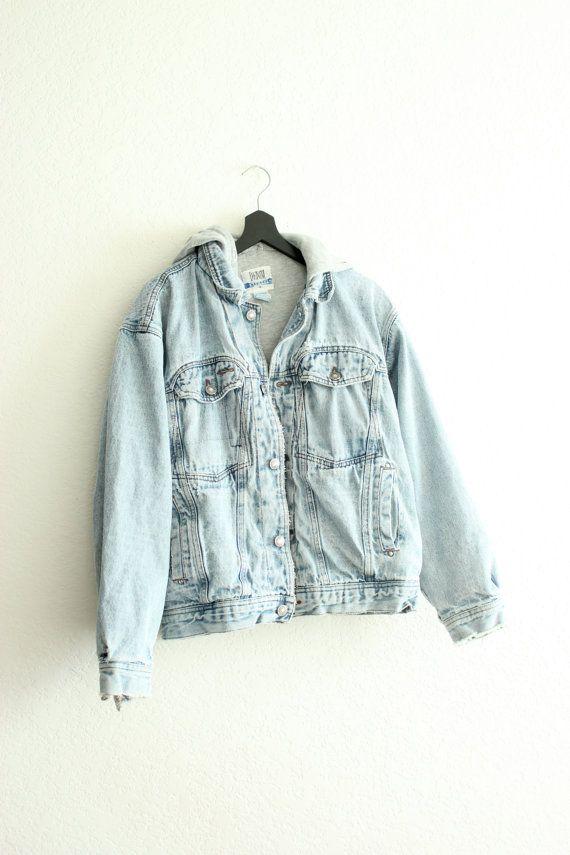 90s grunge hooded jean jacket m/l. $40.00, via Etsy.