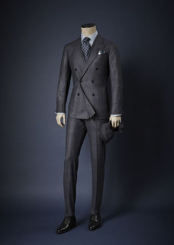"""Just a cool and clean cut double breasted suit I like. Double breasted suits always carry that """"dapper"""" element and hence it a great casual suit with elegant flair. Fine check pattern work perfectly..."""