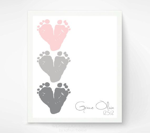 Pink Gray Nursery Wall Art - Baby Footprint Hearts - Personalized Baby Girl Nursery Decor - Baby Wall Art Print Dusty Pink, Charcoal Grey