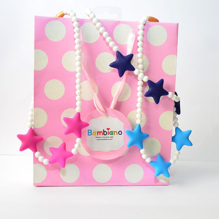 Bambiano Tona Star Necklaces are available in 3 colours. They are made of 100% Food grade silicone. BPA free, Lead free and nontoxic. Fashionable for trendy girls 3 years and above. Necklaces are colourful, washable and soft against the skin. Shop at www.bambiano.com