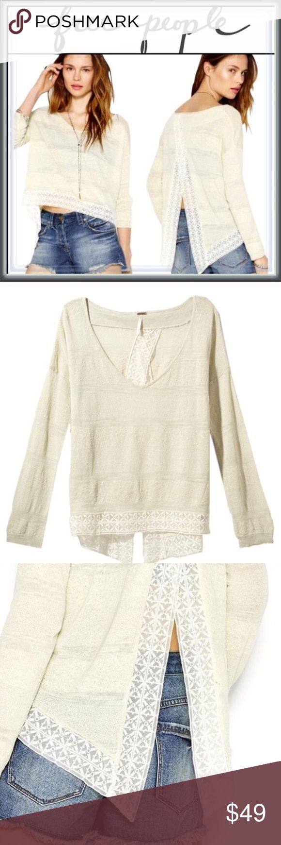 Free People Pebble Dash Envelope Split Back Top ➖BRAND: Free People ➖SIZE: XSmall ➖STYLE: Pebble Dash Embroidered Trim Envelope features an open back with muted honeydew and ivory stripes. This long sleeve semi sheer top includes a semi deep V neck that can be pulled to the side and worn off the shoulder . The back crossover smells fall open over the back with a lace trim.    ❌NO TRADE   324498 Free People Tops Blouses
