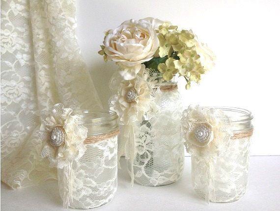 3 pièces en dentelle couvert des pots de maçon avec adorable dentelle Fleurs 1 Vase Et 2 Bougeoir, décoration de mariage cadeau