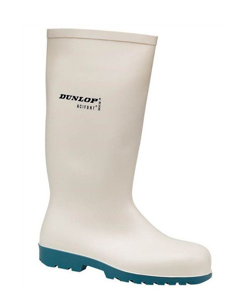Dunlop Hevea Acifort Classic Safety Wellington in White   Safety Wellington that is ideal for the food industry. Part of our White Wellies range.  The Dunlop Hevea Actifort Classic Safety Welly is a popular wellington boot among our customers working in the food processing industry. The white PVC of the boot is easy to clean and shows up dirt and foot waste well. This welly has a non-slip sole for use in slippery environments and is EN345 rated. The steel toe cap on the boot offers…