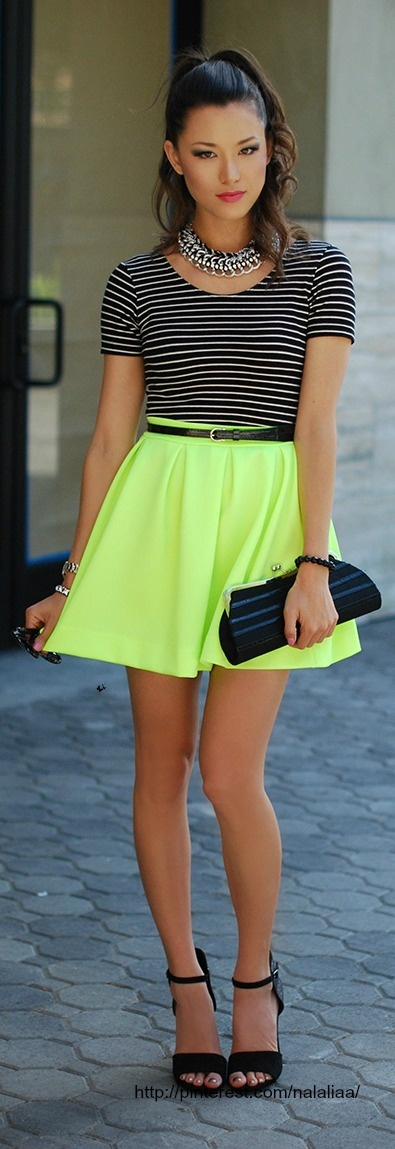 black and neon ♥✤ | Keep the Glamour | BeStayBeautifulAt StartingAClothingLine.com, we are all about fashion & design so we love finding hot fashion styles that we can highlight here on Pinterest. This outfit rocks! You want to get into design visit our site. Be sure to follow us. Thanks!