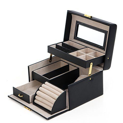 SONGMICS Black Leather Jewelry Box Lockable Makeup Storage Case with Mirror UJBC114  sc 1 st  Pinterest & 25+ unique Leather jewelry box ideas on Pinterest | Diy projects ... Aboutintivar.Com
