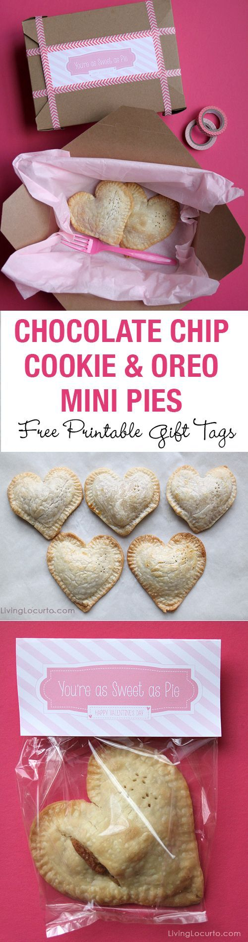 These Chocolate Chip Cookie and Oreo Cookie Mini Heart Pies are an adorable treat! Make someone's day by baking this recipe and packaging with a Free Printable gift tag for Valentine's Day.