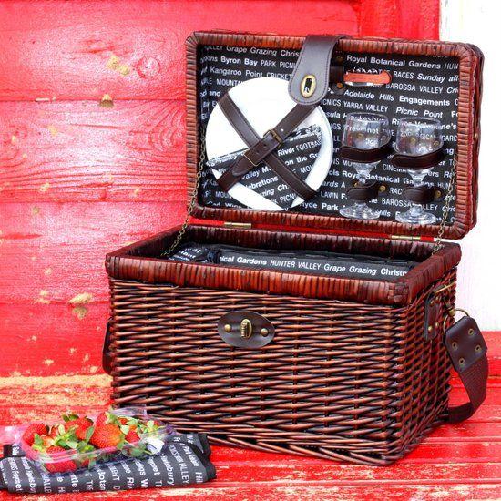 Y491 2 person Aussie wicker picnic basket