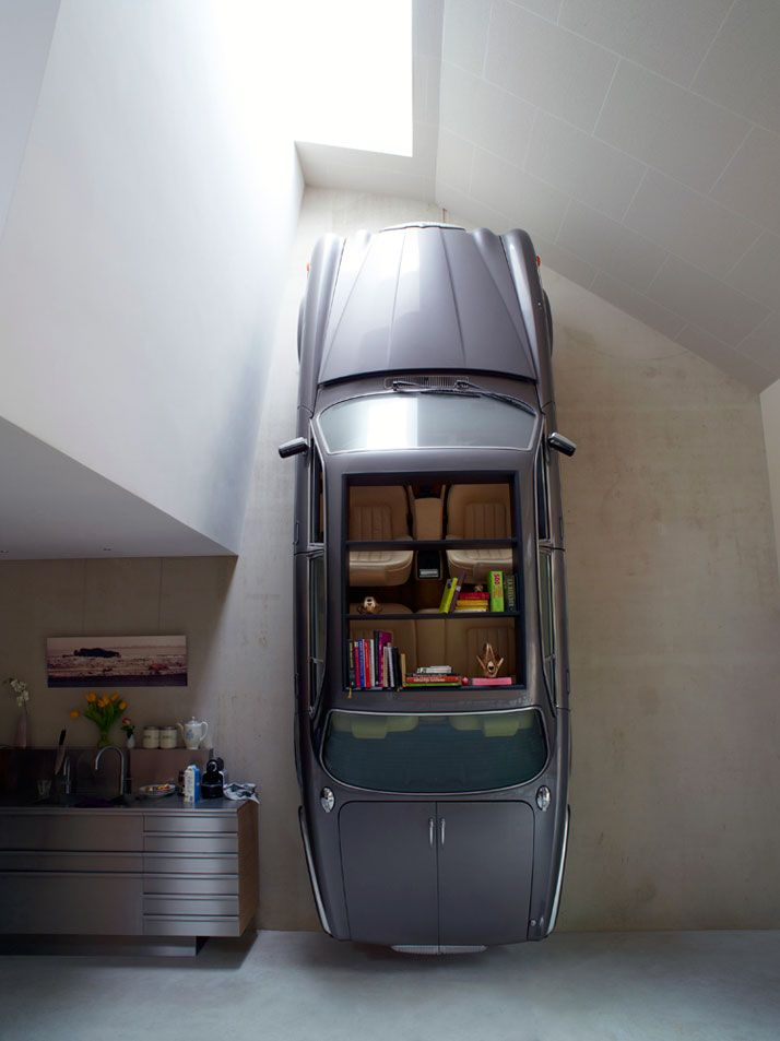 Would you mind, very much, if I bought a 356A Cabriolet and took up one wall of the living room?Bookshelves, Contemporary Kitchens, Living Room, Dutch Mountain, Book Shelves, Old Cars, Design Studios, Dutch Design, Mountain House